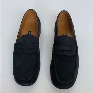 BALLY Dark Blue Suede Platform Loafers